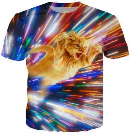 men 3d galaxy print t shirt Cat Vortex printed Tshirts