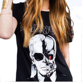 Printed T-Shirt Women Skull Ghost Pattern O Neck