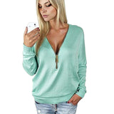 Women Zippers T-Shirt Slim Long Sleeve Solid Deep V