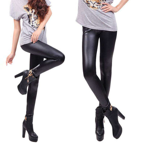 Leather Women Fashion Casual Leggings Vintage