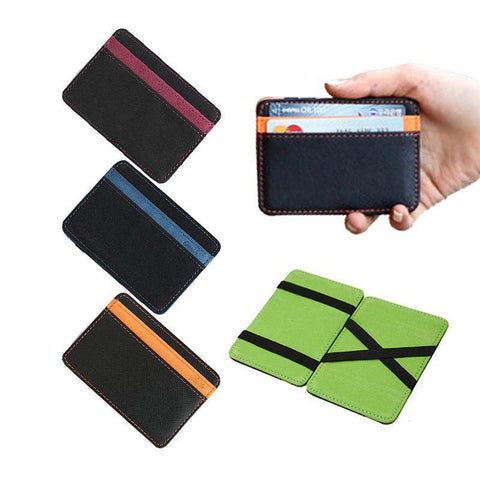 Men's Leather Magic Wallet Money Clips Casual Clutch
