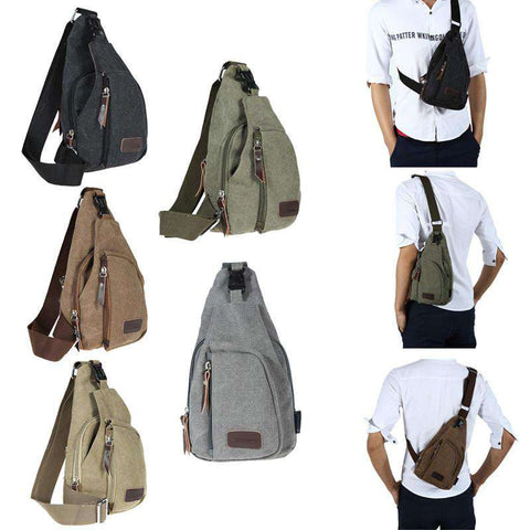 Men's Small Canvas Military Messenger Shoulder Hiking Fanny Bag