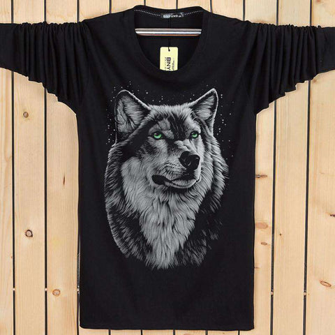 Cotton 3d t Shirt  Men 2016 Autumn Winter New Arrvial 3D Funny Wolf