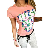 Women Short Sleeve Casual Print Letter