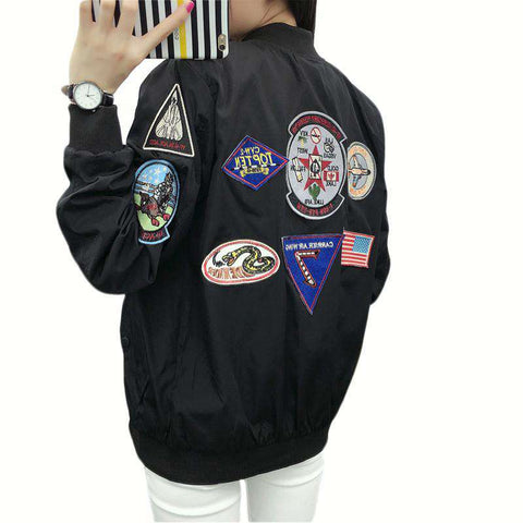 Embroidery Pattern Bomber Jacket Black Women Fashion