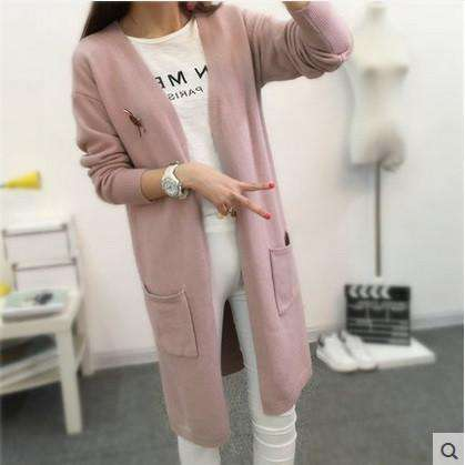 Long Sleeve V Neck Cashmere Knitted Cardigan