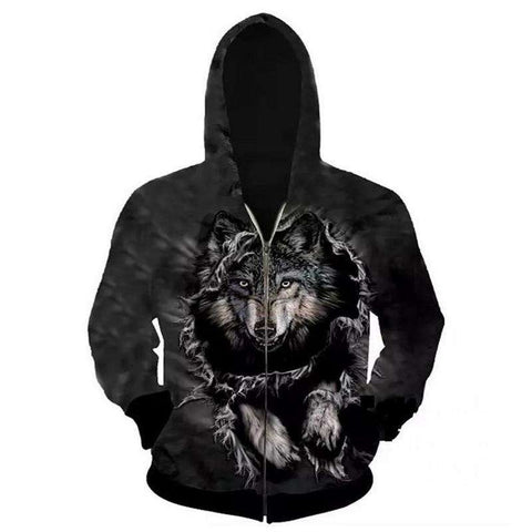 Hoodies Men Sweatshirts 3D Wolf