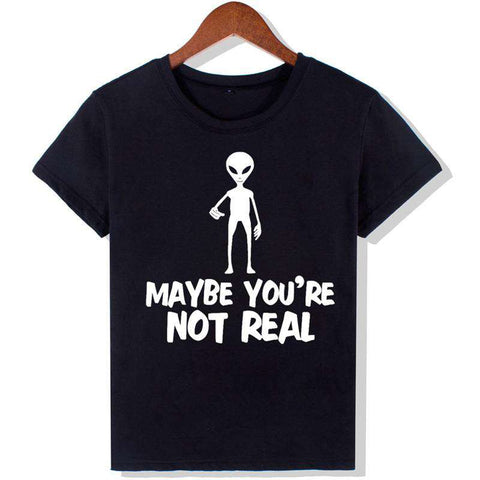 Alien Fashion Letter Print Short Sleeve O-neck Black T-Shirts Women