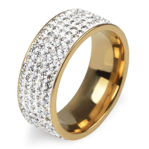 5 Rows Crystal Stainless Steel Ring Women
