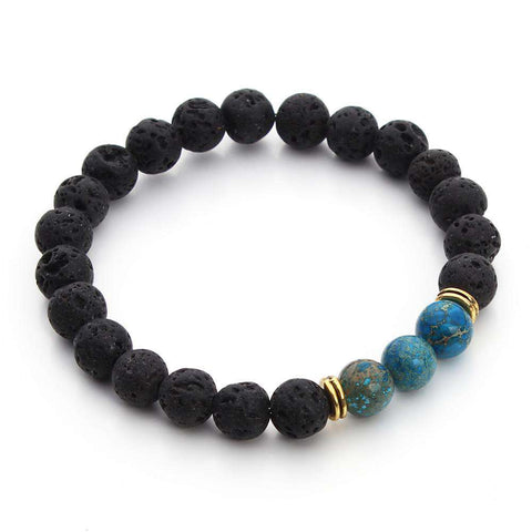 Black Lava Stone Beaded Bracelet