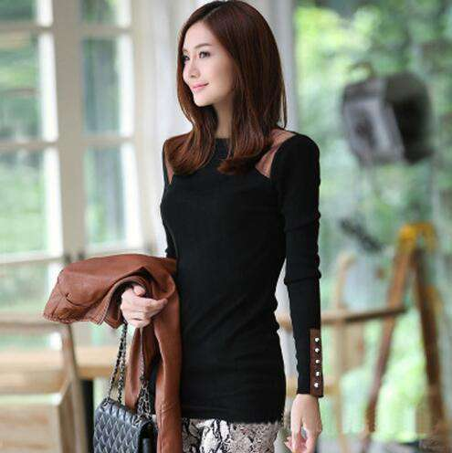 Long Sleeve Beading Patchwork Women O Neck T Shirt