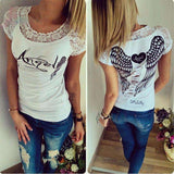 T Shirt Hollow Out Shirt Angel Wings Woman Short Sleeve