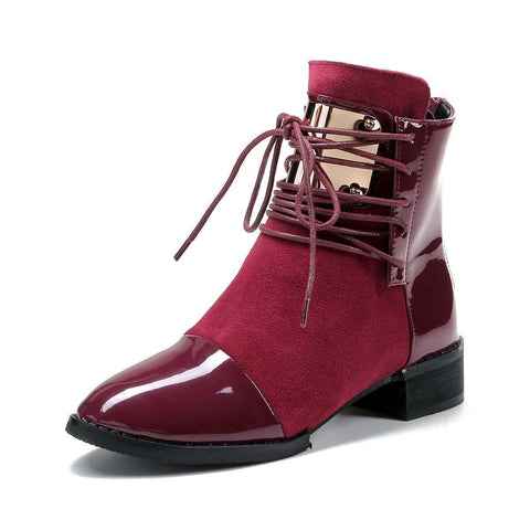 Leather Women Boots Flat Martin