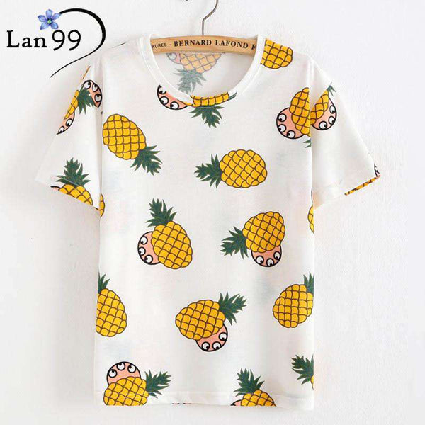 Pineapple Print T shirt Casual O-neck Short Sleeve Tops