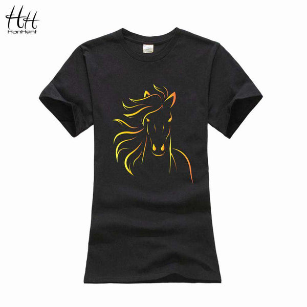 Print Horse Women T shirt Short Sleeve Sexy Black