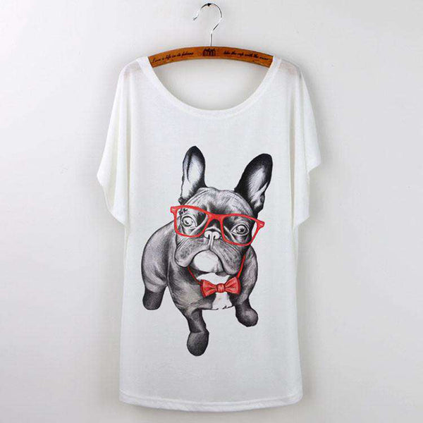 Pug Print Women T-Shirt Tops White