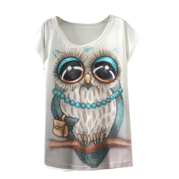 T Shirt Women Clothing Tops Animal Owl Print Clothes