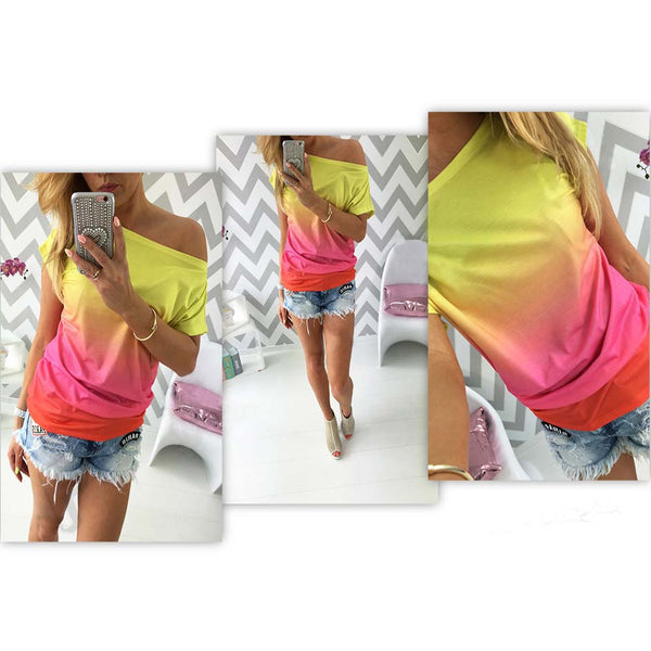 Women T Shirt Rainbow Print Tops Casual Off Shoulder