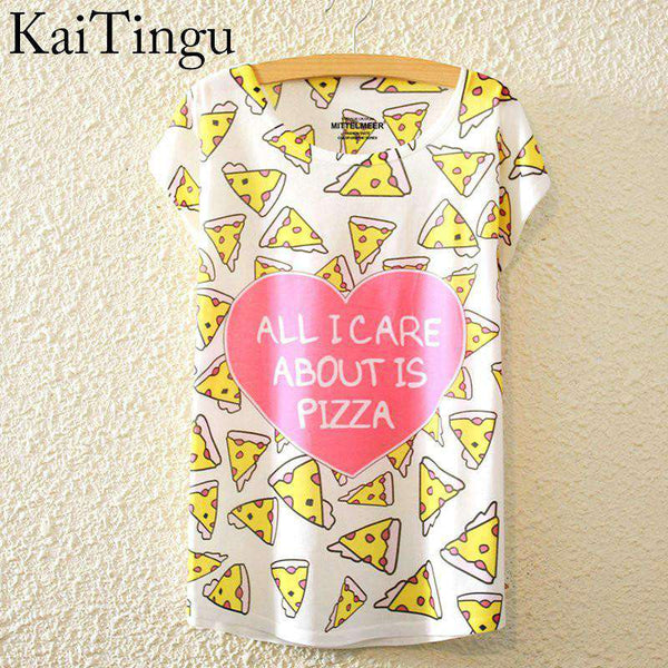 Cat Print Shirt O-Neck Short Sleeve T Shirt Women