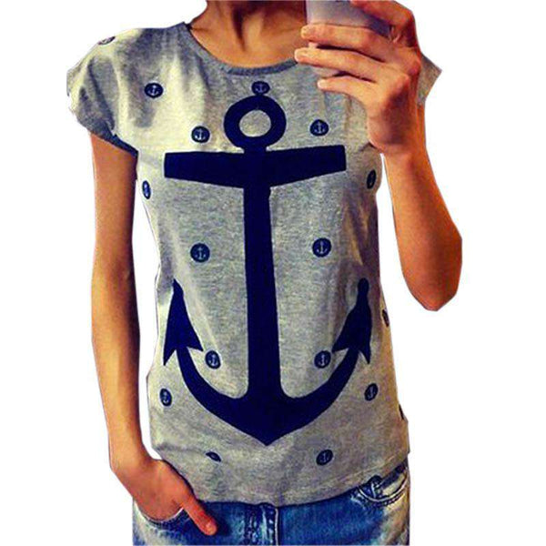 Letter Print T Shirt Women Boat Anchor