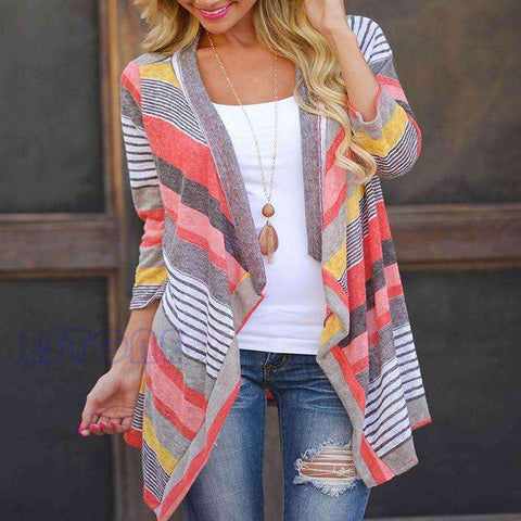 Womens Cardigan Loose Sweater Outwear Knitted