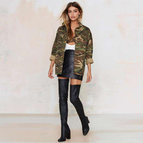 Loose Camouflage Stand Collar Pocket Long Sleeve Zipper Jacket