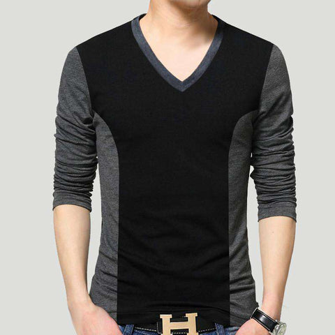 Cotton T-Shirt 2016 V Neck Slim Fitted T Shirt Men