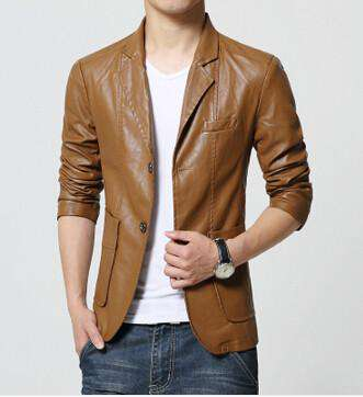 Blazer Jacket Men Soft PU Leather Coat Slim Fit