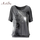 T-Shirt Women Off Shoulder Feather Print Short Sleeve Summer Top