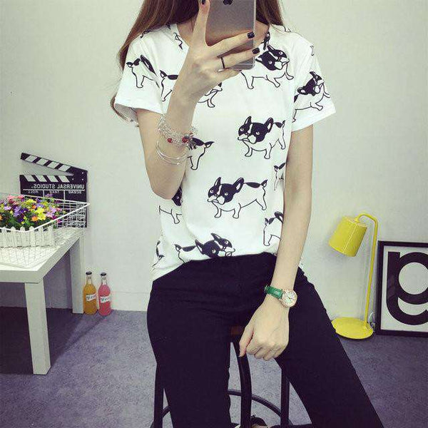 Puppy Printed Women O Neck Cotton Tops
