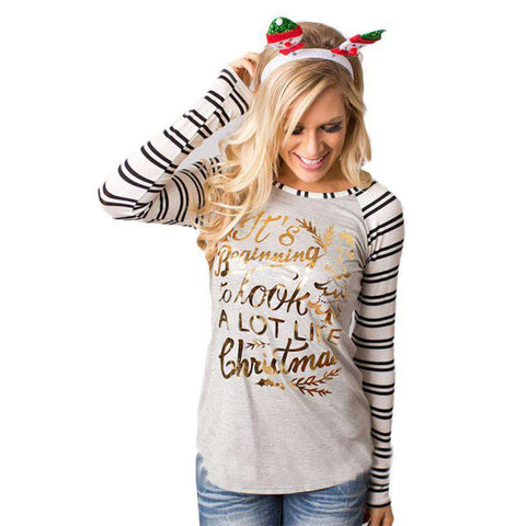 Deer Printed Women's Long Sleeve Striped Cotton Tee