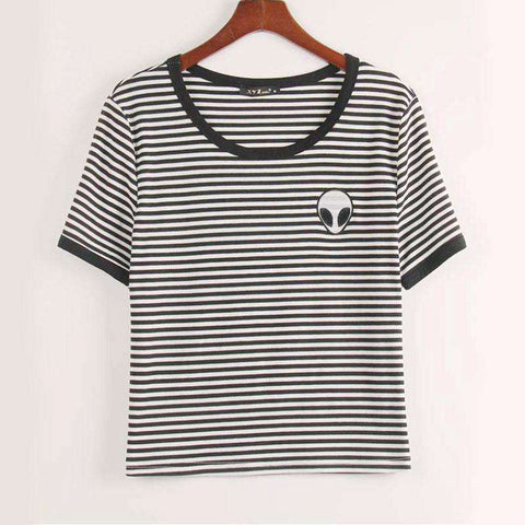 Crop Top T Shirt Women Alien ET Print Copped Top