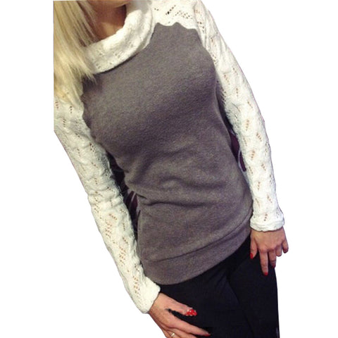 Women Winter Pullover Turtleneck Patchwork Lace Long Sleeve