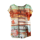 Summer Animal Cat Print Shirt O-Neck Short Sleeve T Shirt Women