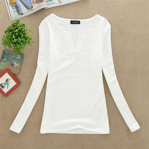 Basic V Neck Long Sleeve Fitted Plain Top