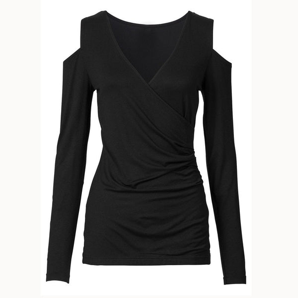 T Shirt Women Casual Tops Long Sleeve Sexy V Neck