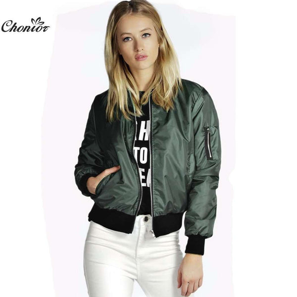 Retro Long Sleeve O-Neck Short Zipper Slim Bomber Jacket
