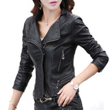 Slim Rivet Leather Turn Down Collar Jacket
