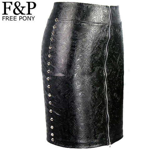 Womens Metal Studded Rivet High Waist Faux Leather Skirts