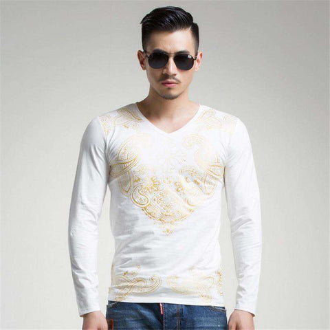 Branded Men's Printed Long Sleeve Slim Fit