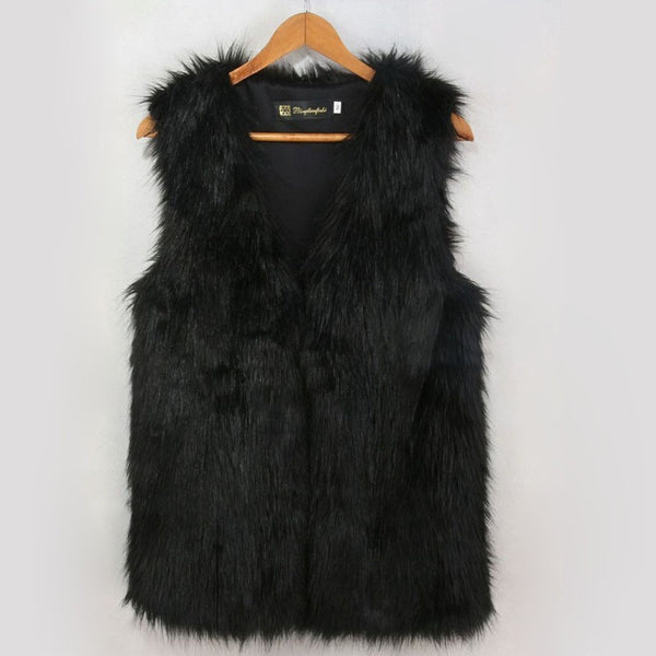 Warm Sleeveless Fake Fur V-neck Long  Outwear Vest Women