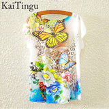 Short Sleeve T Shirt Women Tops Eiffel Tower Printed T-shirt White Cloth