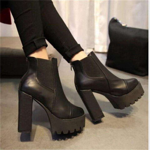 Ankle Boots High Heels Block Thick