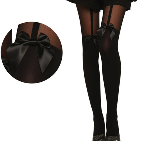 Tights Bow Pantyhose Tattoo Mock Bow Suspender Sheer Stockings