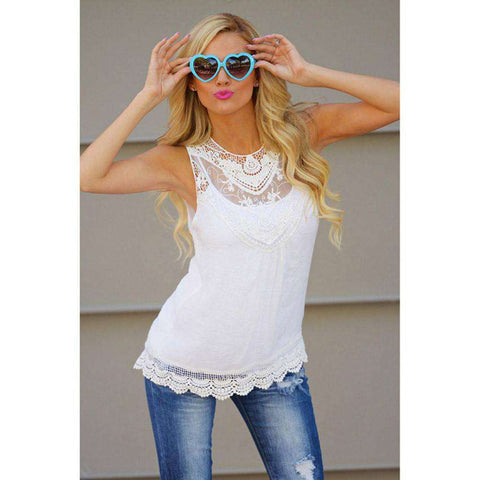 Cotton Lace Blouse Sleeveless Casual