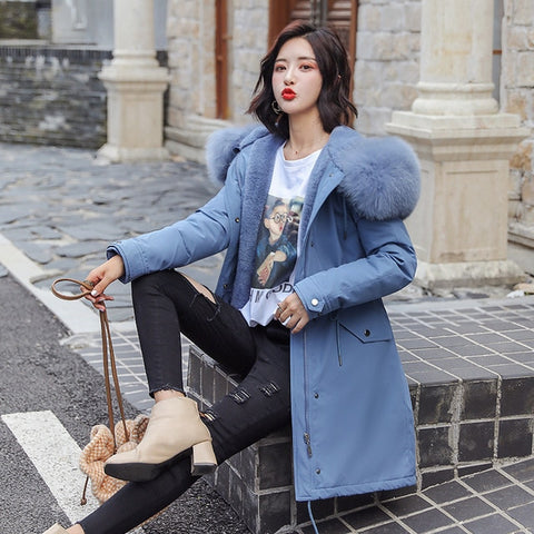 Warm Velvet Faux Fur Winter Parka Coat