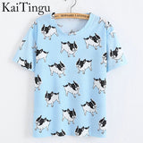 Women O-Neck Dog Dinosaur Ice Cream Geometric Print T Shirt