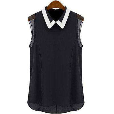 Casual Chiffon Sleeveless Blouse Black White