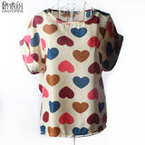 Vintage Birds Stars Hearts and Striped Short-Sleeved Women Tops