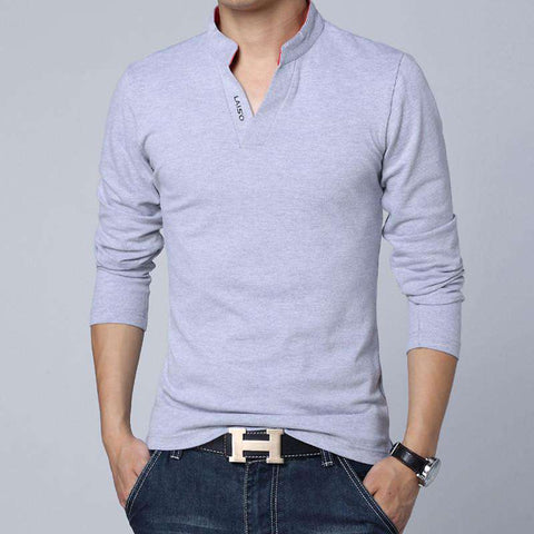 Fashion Brand Men Clothes Solid Color Long Sleeve Slim